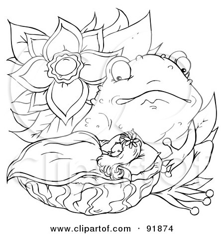royalty free rf clipart illustration of a black and white thumbelina coloring page outline 2 by alex bannykh