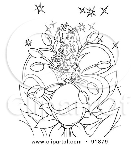 Royalty-Free (RF) Clipart Illustration of a Black And White Thumbelina Girl Coloring Page Outline - 1 by Alex Bannykh