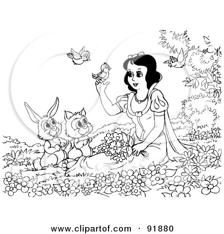 Royalty-Free (RF) Clipart Illustration of a Black And White Snow White Coloring Page Outline - 1 by Alex Bannykh