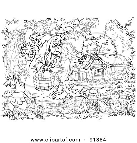 Royalty-Free (RF) Clipart Illustration of a Black And White Snow White Coloring Page Outline - 3 by Alex Bannykh