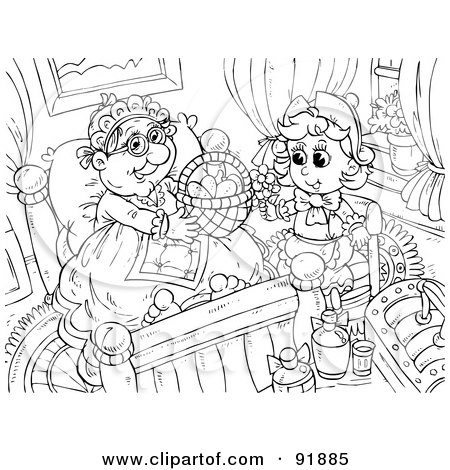 Royalty-Free (RF) Clipart Illustration of a Black And White Little Red Riding Hood Coloring Page Outline - 3 by Alex Bannykh