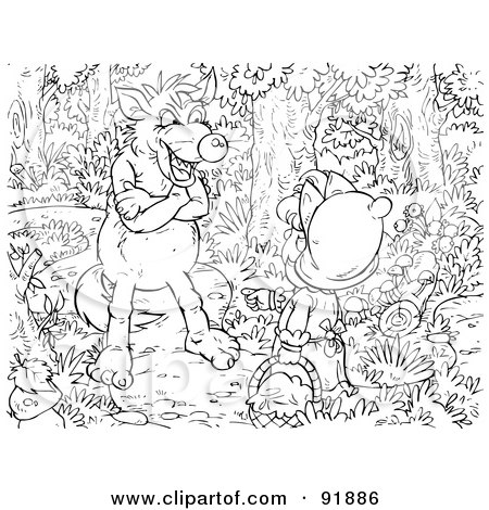 Royalty-Free (RF) Clipart Illustration of a Black And White Little Red Riding Hood Coloring Page Outline - 2 by Alex Bannykh