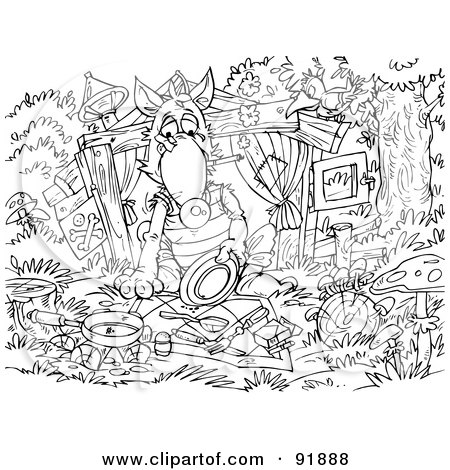 Wolf Coloring Pages on Three Little Pigs And The Big Bad Wolf Coloring Page Outline 4 Jpg