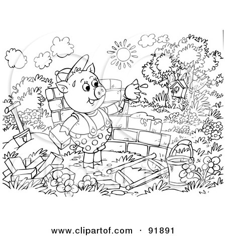 Royalty-Free (RF) Clipart Illustration of a Black And White Three Little Pigs and the Big Bad Wolf Coloring Page Outline - 1 by Alex Bannykh