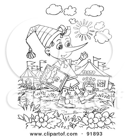 Royalty-Free (RF) Clipart Illustration of a Black And White Pinocchio Coloring Page Outline - 3 by Alex Bannykh