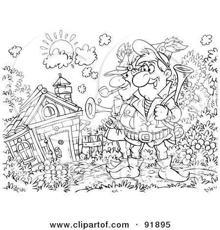 Royalty-Free (RF) Clipart Illustration of a Black And White Men By A Cottage Coloring Page Outline by Alex Bannykh