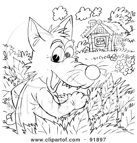 black and white wolf watching a cottage coloring page outline