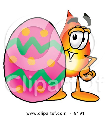Clipart Picture of a Flame Mascot Cartoon Character Standing Beside an Easter Egg by Toons4Biz