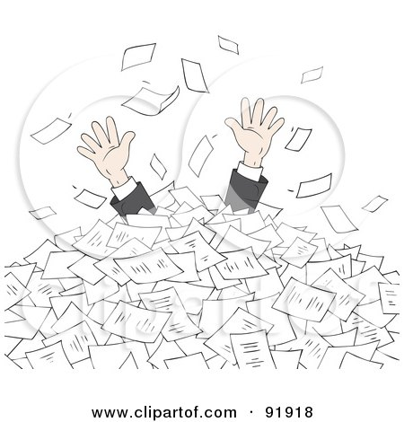Royalty-Free (RF) Clipart Illustration of a Business Man's Hands Reaching For Help From A Pile Of Paperwork by Alex Bannykh