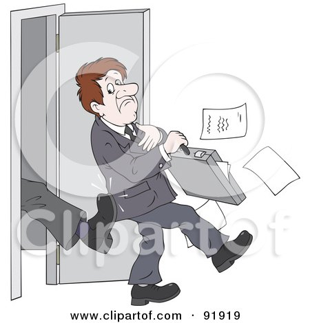 Royalty-Free (RF) Clipart Illustration of a Manager's Boot Kicking Out An Applicant, Salesman Or Employee by Alex Bannykh