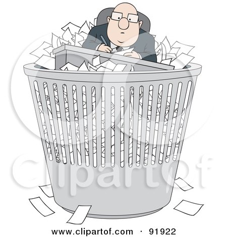 Royalty-Free (RF) Clipart Illustration of a Bald Businessman With Paperwork In A Trash Bin by Alex Bannykh