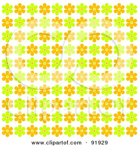 Royalty-Free (RF) Clipart Illustration of a Green, Orange And Yellow Floral Background - 3 by tdoes