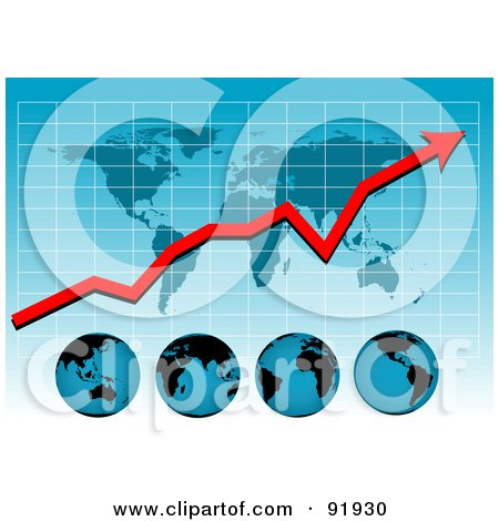 Royalty-Free (RF) Clipart Illustration of a Blue Graph With A Profit Arrow, Map And Globes by tdoes