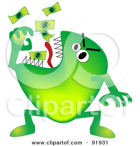 Royalty-Free (RF) Clipart Illustration of a Green Economy Monster Eating Cash by tdoes