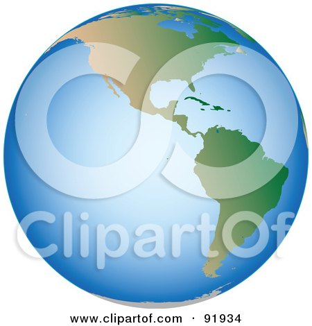 Royalty-Free (RF) Clipart Illustration of an American Globe With Blue Seas by tdoes