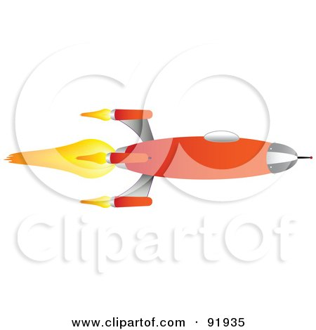 Royalty-Free (RF) Clipart Illustration of a Flaming Orange Space Rocket by tdoes