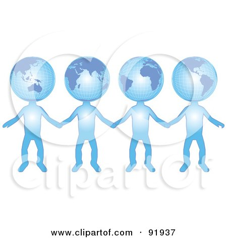 Royalty-Free (RF) Clipart Illustration of a Group Of International Globe Head People Holding Hands by tdoes