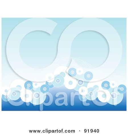 Royalty-Free (RF) Clipart Illustration of a Blue Background With Circle Waves by tdoes