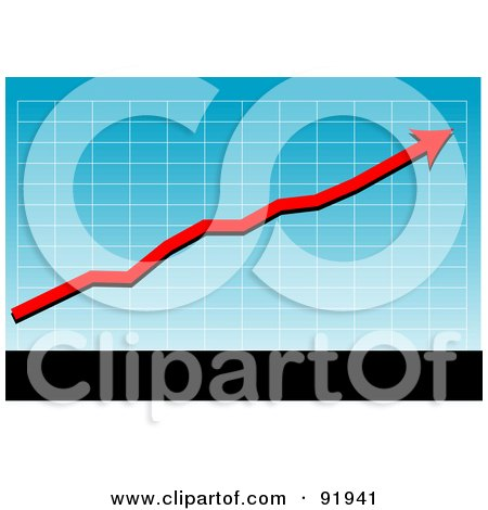 Royalty-Free (RF) Clipart Illustration of a Blue Graph With A Red Profit Arrow, Above Black And White Bars by tdoes