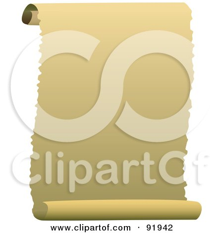 Royalty-Free (RF) Clipart Illustration of a Blank Parchment Scroll Paper With Ripped Edges by tdoes