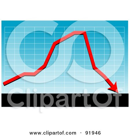 Royalty-Free (RF) Clipart Illustration of a Blue Graph With A Red Loss Arrow, Above Black And White Bars by tdoes