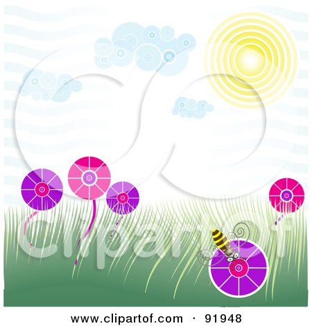 Royalty-Free (RF) Clipart Illustration of a Spring Time Scene  With A Bee On A Flower In A Grassy Field Under The Sun by tdoes