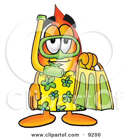 Clipart Picture of a Flame Mascot Cartoon Character in Green and Yellow Snorkel Gear by Toons4Biz