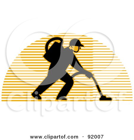 Royalty-Free (RF) Clipart Illustration of a Logo Of A Carpet Cleaner Man Over A Lined Half Circle by patrimonio