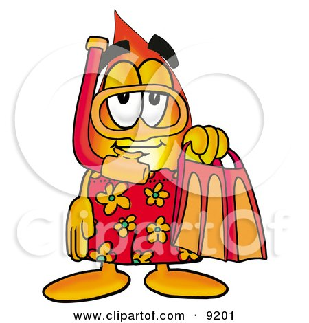 Flame Mascot Cartoon Character in Orange and Red Snorkel Gear Posters, Art Prints