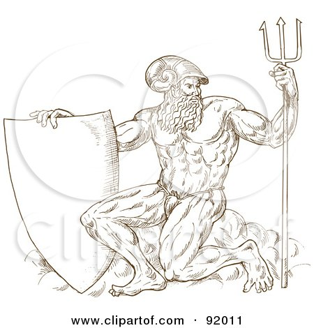 Royalty-Free (RF) Clipart Illustration of a Brown Sketch Of Neptune With A Shield And Trident, On White by patrimonio
