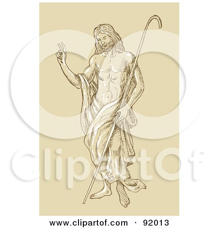 Royalty-Free (RF) Clipart Illustration of a Sketched Christ Standing With A Staff by patrimonio