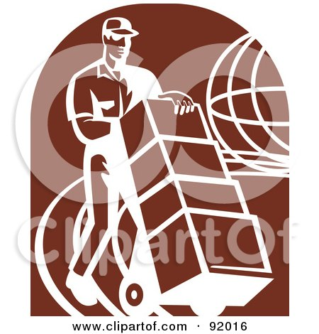 Royalty-Free (RF) Clipart Illustration of a Retro Delivery Man With Boxes Over A Brown Oval by patrimonio