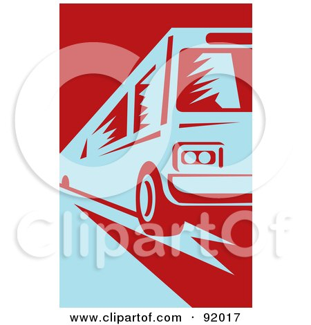 Royalty-Free (RF) Clipart Illustration of a Retro Blue And Red Public Bus by patrimonio
