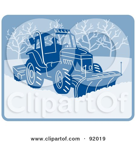 Royalty-Free (RF) Clipart Illustration of a Man Operating A Snow Plow Machine by patrimonio
