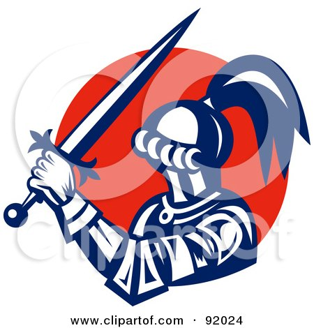 Royalty-Free (RF) Clipart Illustration of a Retro Styled Logo Of A Knight With A Sword Over A Red Circle by patrimonio