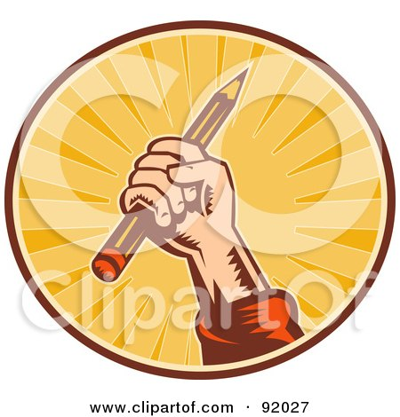 Royalty-Free (RF) Clipart Illustration of a Retro Styled Logo Of A Hand Holding Up A Pencil In A Sunny Circle by patrimonio
