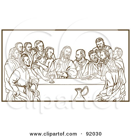 Royalty-Free (RF) Clipart Illustration of a Brown Sketch Of The Last Supper Over White by patrimonio
