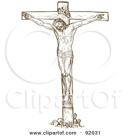 Royalty-Free (RF) Clipart Illustration of a Brown Sketch Of Jesus On The Cross, On White by patrimonio