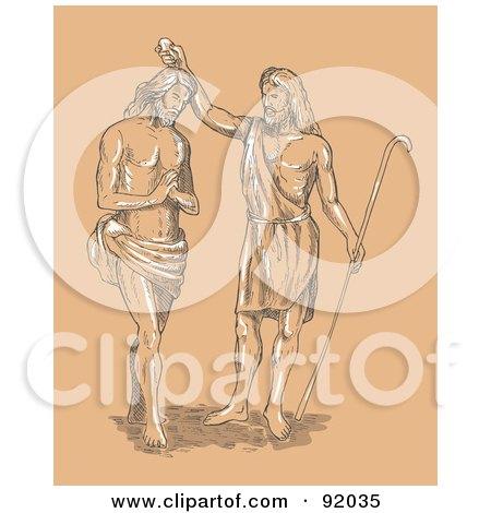 Royalty-Free (RF) Clipart Illustration of a Sketch Of St John Baptizing Jesus by patrimonio