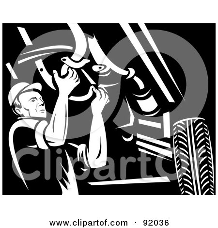 Royalty-Free (RF) Clipart Illustration of a Retro Black And White Mechanic Working Under A Car by patrimonio