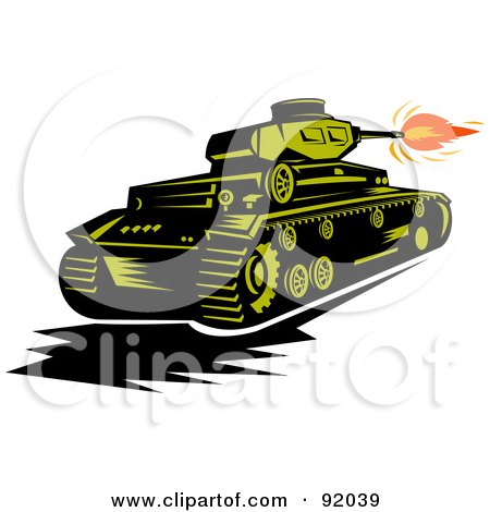 Royalty-Free (RF) Clipart Illustration of a Green Military Tank Firing The Canon by patrimonio