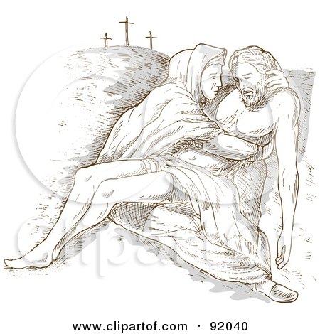 Royalty-Free (RF) Clipart Illustration of a Sketched Scene Of Mary Holding The Dead Christ by patrimonio