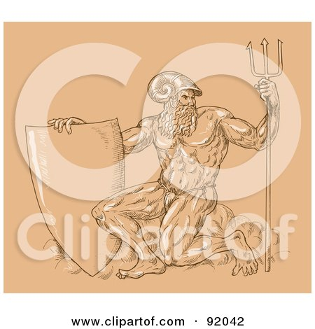 Royalty-Free (RF) Clipart Illustration of a Sketch Of Neptune With A Shield And Trident Over Tan by patrimonio