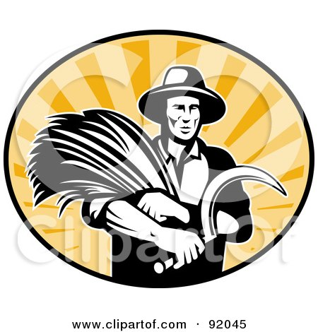 Royalty-Free (RF) Clipart Illustration of a Logo Of A Retro Black And White Farmer With Wheat And A Scythe In A Sunny Oval by patrimonio