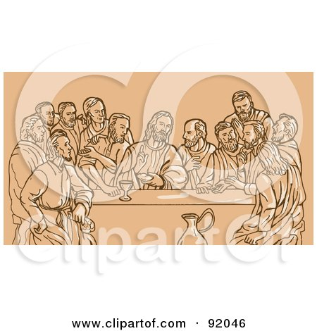 Royalty-Free (RF) Clipart Illustration of a Sketch Of The Last Supper On Tan by patrimonio