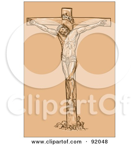 Royalty-Free (RF) Clipart Illustration of a Sketch Of Jesus On The Cross Over Tan by patrimonio
