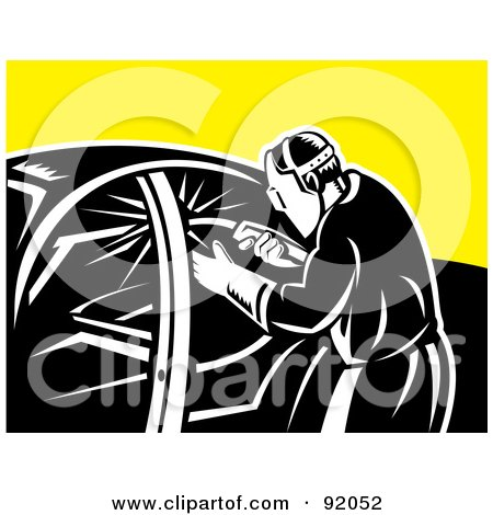 Royalty-Free (RF) Clipart Illustration of a Retro Welder Welding A Vehicle by patrimonio