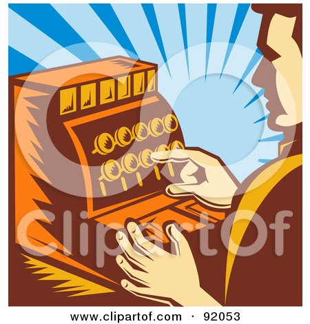 Royalty-Free (RF) Clipart Illustration of a Retro Male Cashier Pushing Buttons On A Register by patrimonio