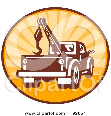 Royalty-Free (RF) Clipart Illustration of a Retro Styled Logo Of A Tow Truck In A Sunny Circle by patrimonio