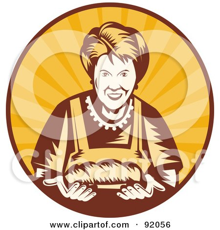 Royalty-Free (RF) Clipart Illustration of a Retro Styled Logo Of A Female Baker In A Sunny Circle by patrimonio